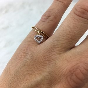 NEW Gold Heart Charm Promise Ring